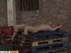 Hung twink Dylan Thorne tied up and made cum by maledom
