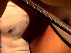 Straight musician has a guitar solo before masturbating