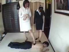 Japanese Femdom feet trample worship shoes barefoot kicking ball busting sm