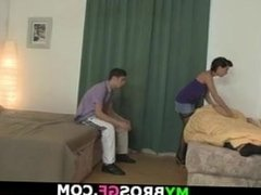 Cheating girl in stockings takes it from behind