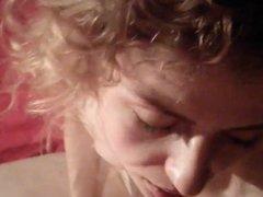 Skinny blonde MILF gets facial on bed