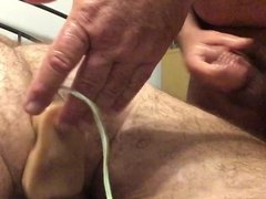 Dildo play and Hubby Jerking Off