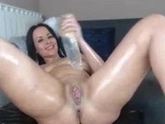 MILF Self With All Natural Big Soft Tits Legs Spread Masturbating
