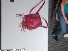 Redhead teen and busty MILF screwed for shoplifting