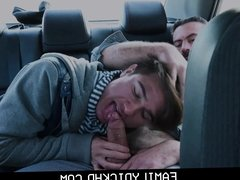 Twink Step Son And His Step Dad Fuck In The Back Seat Of Car