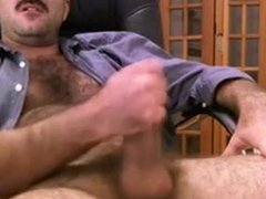 Hairy Mature Bear Jacks off in Chair