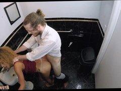 Fucking a little black teen in bathroom