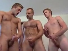Dad catches boys jerking off and joins them