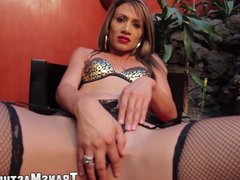 Tranny is sexy lingerie and high heels solo masturbates