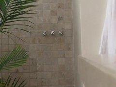 voyeur unaware MILF shower hidden cam