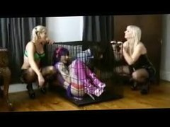 2 sissies get used by their mistresses with strap on cocks