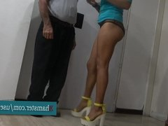 Old Delivery Guy Rubs Oil On Hot Sexy Girl!