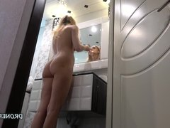 Czech blonde naked teen in the bathroom