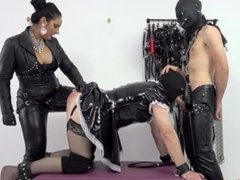 Pegged and whipped while face-fucked Preview