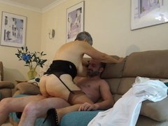 Busty natural granny having sex with young guy