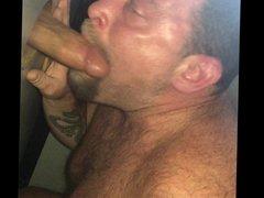 Girl films Boyfriend choking on a big cock at gloryhole