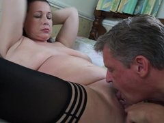 Mom with saggy tits suck and fuck lucky daddy
