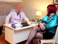Sexy redhead crossdresser fucked in the ass by a doctor