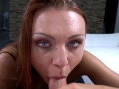 Tall redhead let me cum on her perfectly shaved pussy in the end of fuck