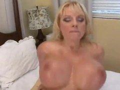 Big fake tits Milf rides cock