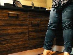 Nude pantyhose under jeans