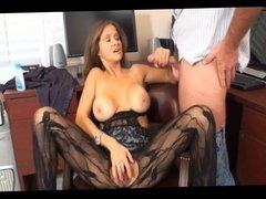 MILF In Lace Pantyhose Masterbates While Giving Handjob