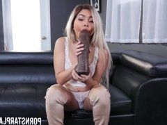 Aaliyah Hadid fucks and sucks a monster black dildo