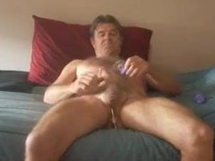 mature old man pounding and cumming and playing with his sex
