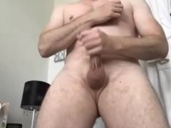 silver dad playing with his big cock