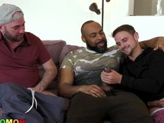 Jerk Off session turns into interracial gay threesome