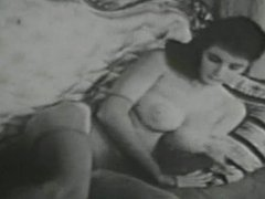 Vintage lascivious girl with perfect big tits