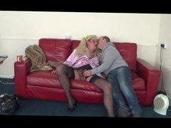 British Tranny Entertains Dirty Old Man