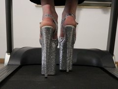 Running on the treadmill with 10 inch glitterheels