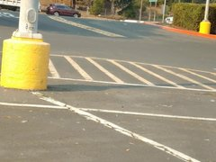Crossdressing in parking lot Lululemon leggings 4.5inch heel
