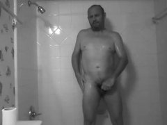 my slave jerked off in the shower and put it on camera