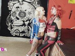 4k porn cosplay lesbian Doble Harley Quinn dildo orgasms