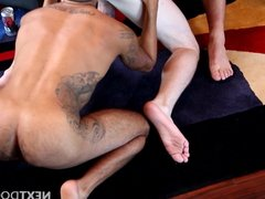 Ass banging party with tattooed muscular young jocks