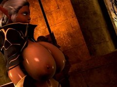 TES Elf showing off her Big Tits to knights 3D Hentai Ecchi