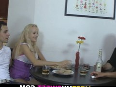 His blonde gf involved into hot family threesome