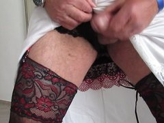 Hotel room wanking in my nylon slips wife is downstairs
