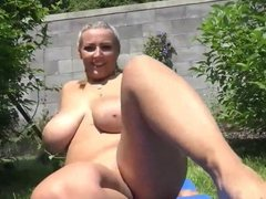Wife With Big Hanging Tits with Her Neighbor In Backyard