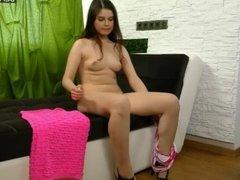 Chubby virgin girl Mamaeva shows her hymen and masturbates!