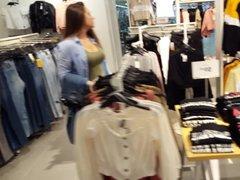 Candid voyeur thick MILF tight dress at shopping mall hot