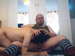 Chubby bear master Bareboots gets fat cock sucked by slave
