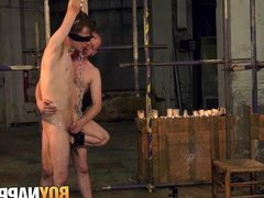 Blindfolded sub twink destroyed by rough anal sex