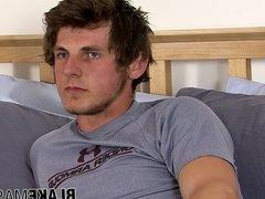 Jock amateur Tom Evans interviewed and jerking off solo