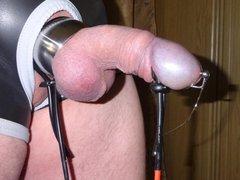 Estim e-stim cum sperm load milking through dilator