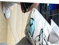 UK PAWG TEEN IN GREY LEGGINGS, SLIGHT JIGGLE IN HER BOOTY
