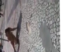 crazy naked girls rolling on the street