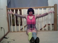 CD Lisa in multiple bondage position (rave outfit)s